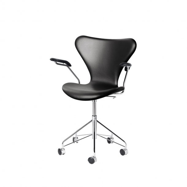 Fritz Hansen - SERIE 7™ kontorstol m. armlæn 3217 | Fuldpolstret, læder
