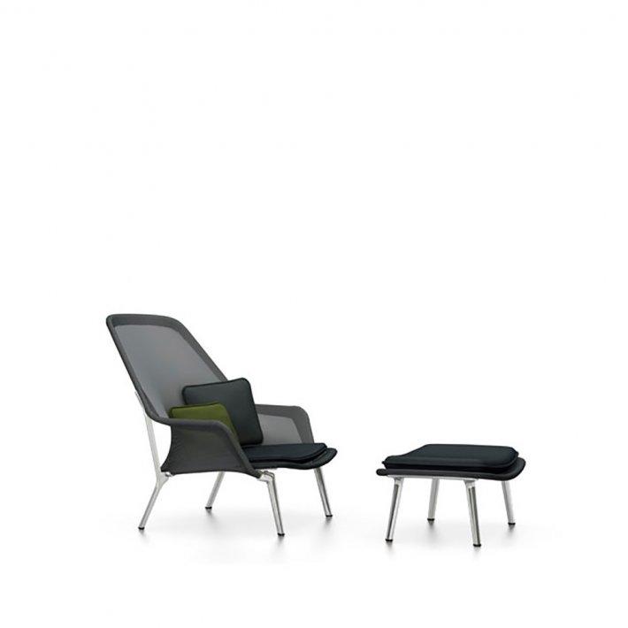 Vitra - Slow Chair og ottoman | Poleret aluminium
