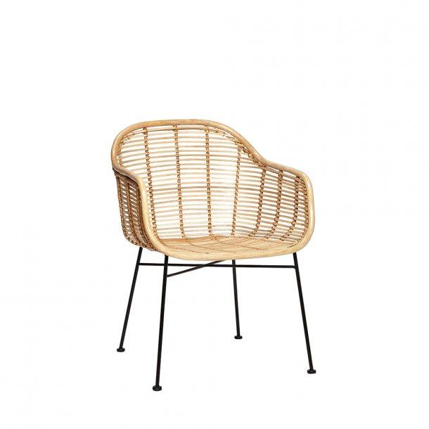 Hübsch - Chair W/Arm rest, Rattan, Nature | Spisebordsstol m. armlæn*