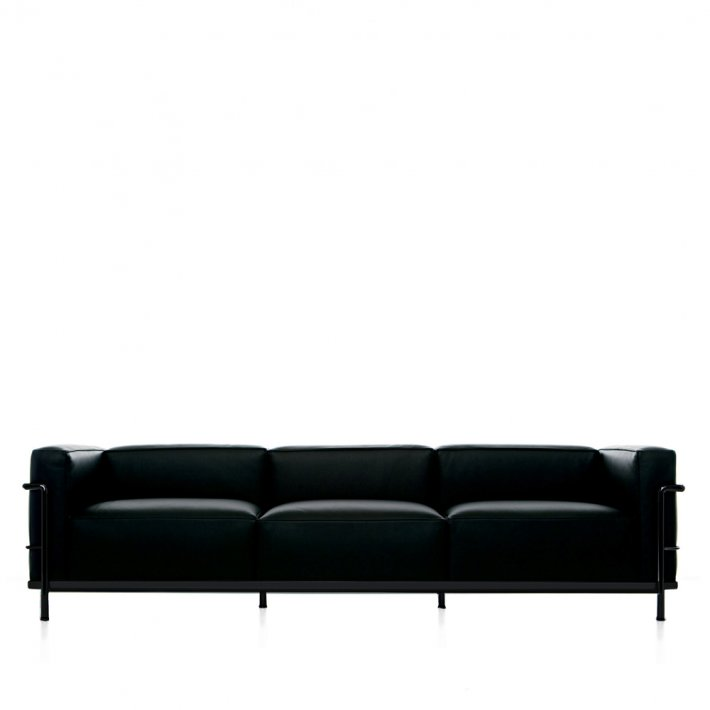 Cassina - LC3 3-seater sofa | Sort stel, Læder