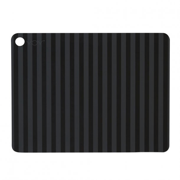 OYOY - Striped Placemats | 2 pcs | Antracite