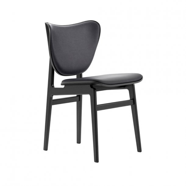 NORR11 - Elephant Dining Chair, Black Frame / Leather - polstret