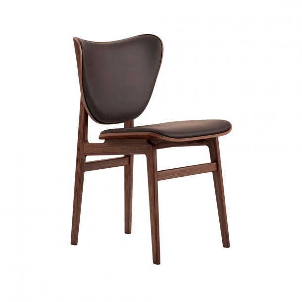 NORR11 - Elephant Dining Chair, Dark Stained Frame / Leather - polstret