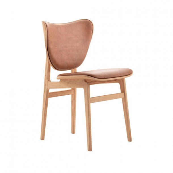 NORR11 - Elephant Dining Chair, Natural Frame / Leather - polstret