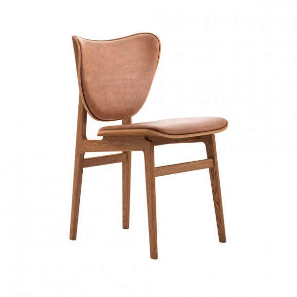 NORR11 - Elephant Dining Chair, Smoked Frame / Leather - polstret
