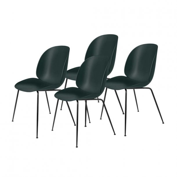 Gubi - Beetle Dining Chair Unupholstered | Black Matt Base (Plastic Glides) | Colli of 4