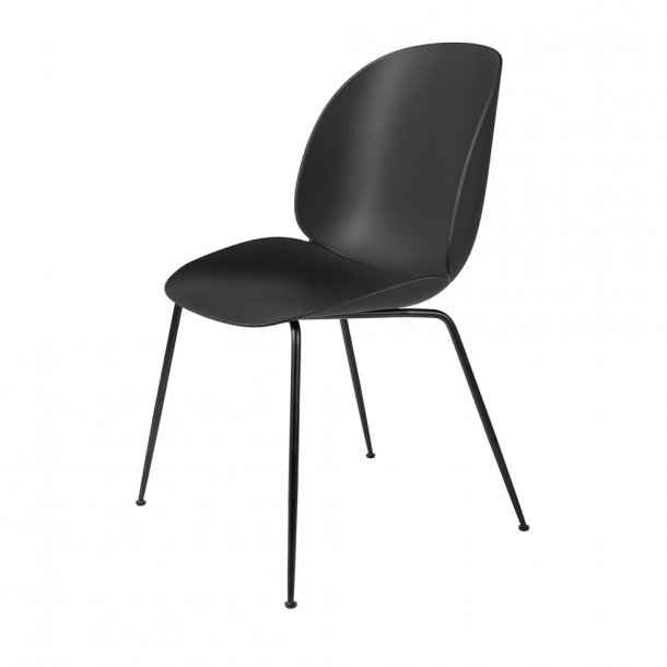 Gubi - Beetle Dining Chair Unupholstered | Black Matt Base (Plastic Glides)