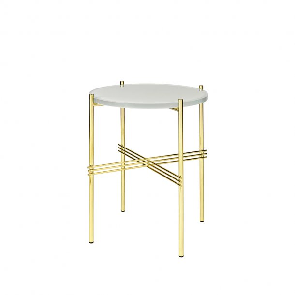 Gubi - TS Side Table | Messing stel | Glas | Sofabord Ø40