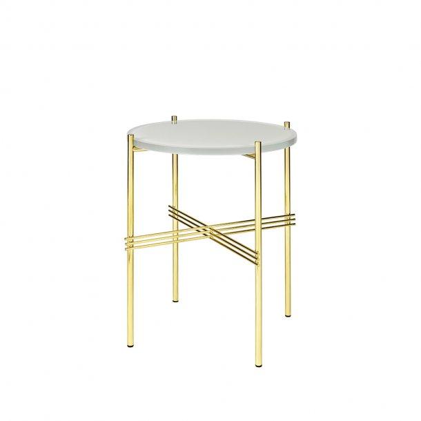 Gubi - TS Side Table   Messing stel   Glas   Sofabord Ø40
