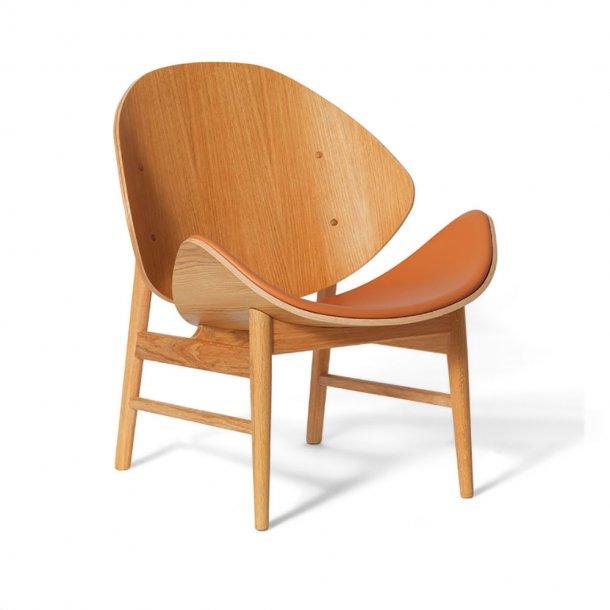 WARM NORDIC - The Orange loungestol | Hvidolieret eg, læder, sædepolstret