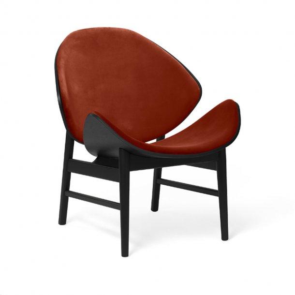 WARM NORDIC - The Orange loungestol | Sortlakeret eg, tekstil, fuldpolstret