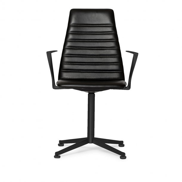 Paustian - Spinal Chair 44, Swivel base black, High back | Chanel stitching, Læder, Armlæn
