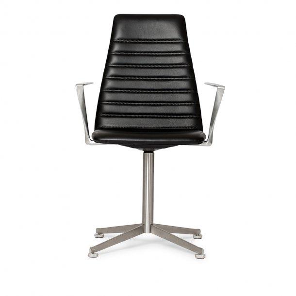 Paustian - Spinal Chair 44, Swivel base chrome, High back | Chanel stitching, Læder, Armlæn