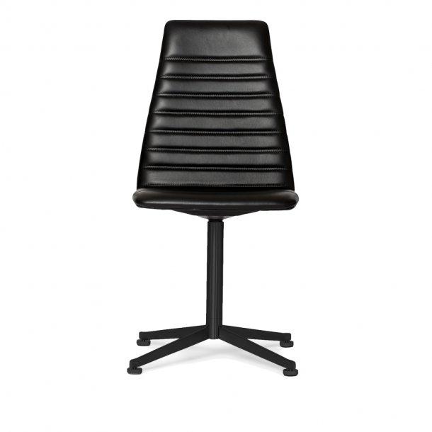 Paustian - Spinal Chair 44, Swivel base black, High back | Chanel stitching, Læder