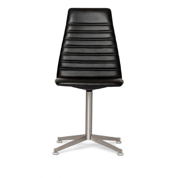 Paustian - Spinal Chair 44, Swivel base chrome, High back | Chanel stitching, Læder