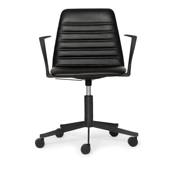Paustian - Spinal Chair 44, 5-star Base Black w. Castors   Chanel stitching, Læder, Armrest