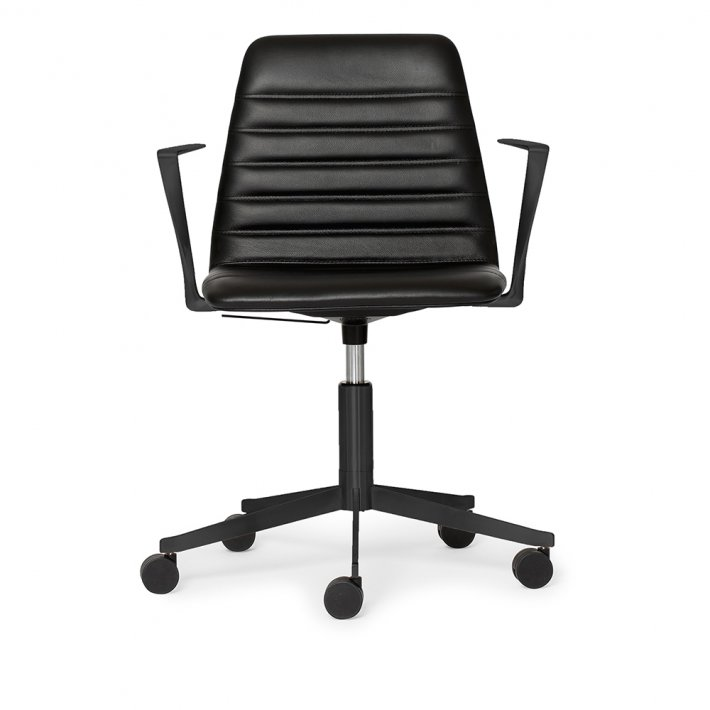 Paustian - Spinal Chair 44, 5-star Base Black w. Castors | Chanel stitching, Læder, Armrest