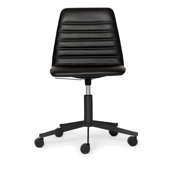 Paustian - Spinal Chair 44, 5-star Base Black w. Castors | Chanel stitching, Læder