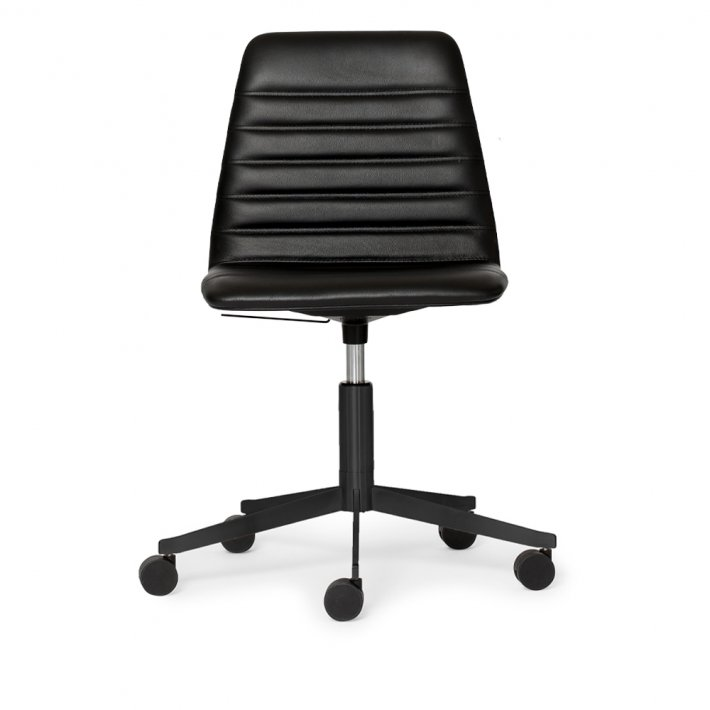 Paustian - Spinal Chair 44, 5-star Base Black w. Castors | Chanel stitching, Læder