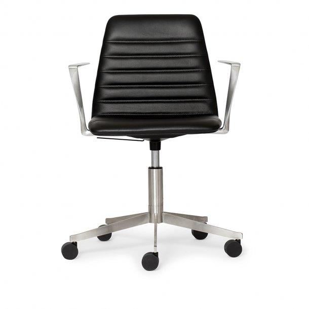 Paustian - Spinal Chair 44, 5-star Base Chrome w. Castors   Chanel stitching, Læder, Armrest