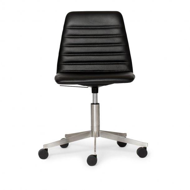 Paustian - Spinal Chair 44, 5-star Base Chrome w. Castors | Chanel stitching, Læder