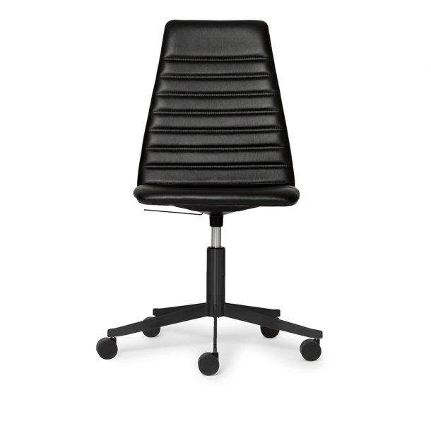 Paustian - Spinal Chair 44, 5-star Base Black w. Castors, High back | Chanel stitching, Læder