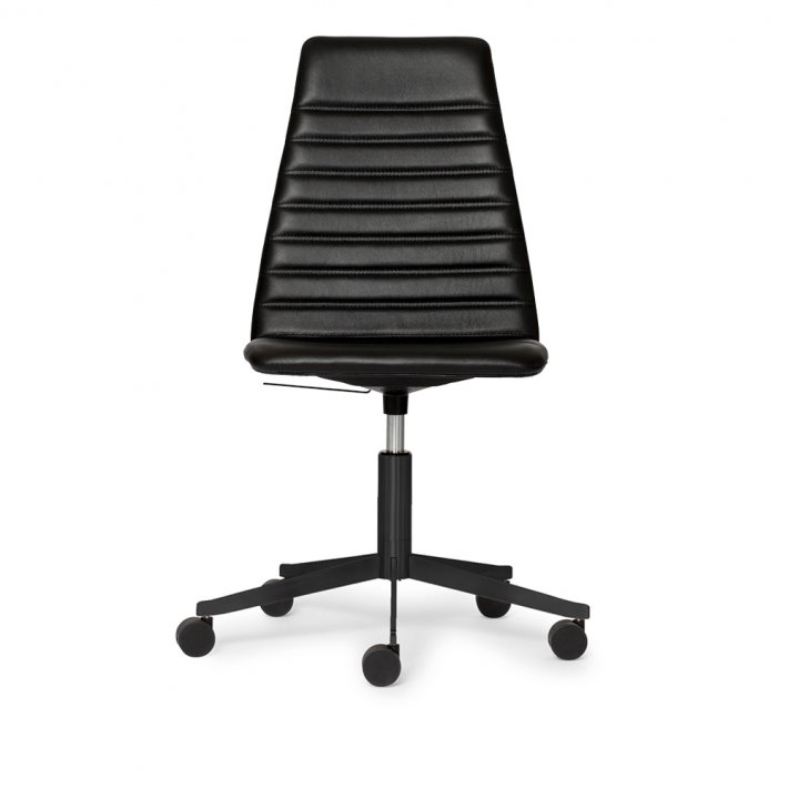 Paustian - Spinal Chair 44, 5-star Base Black w. Castors, High back | Chanel stitching, Læder