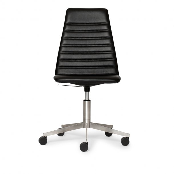 Paustian - Spinal Chair 44, 5-star Base Chrome w. Castors, High back | Chanel stitching, Læder