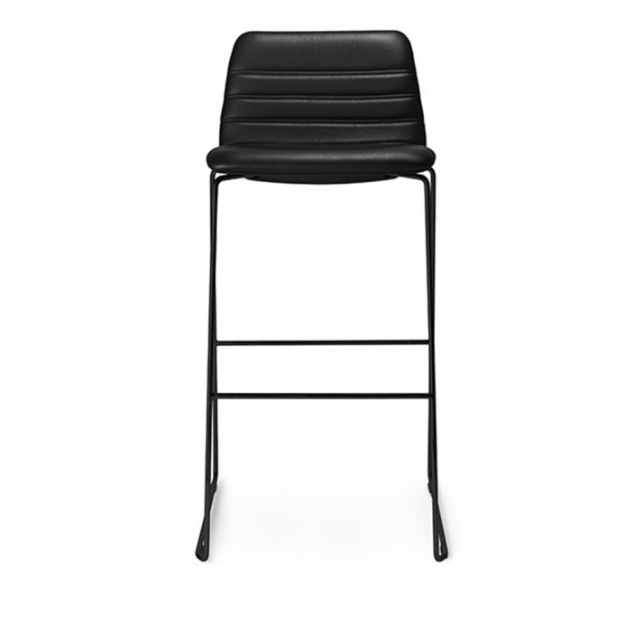 Paustian - Spinal Chair 44, Sled base black, Bar height | Channel Stitching, læder