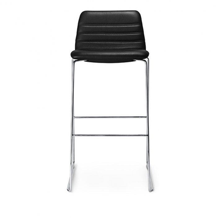 Paustian - Spinal Chair 44, Sled base chrome, Bar height | Channel Stitching, læder