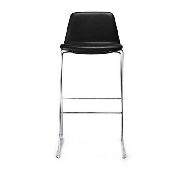 Paustian - Spinal Chair 44, Sled base chrome, Bar height | Plain, læder