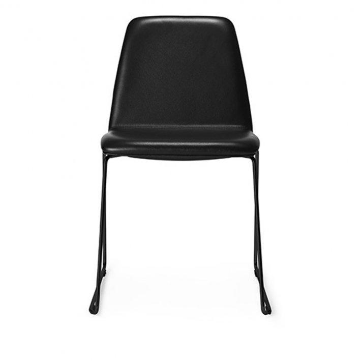 Paustian - Spinal Chair 44, Sled base black | Plain, læder