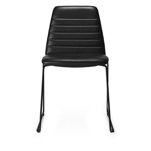Paustian - Spinal Chair 44, Sled base black | Channel stitching, læder