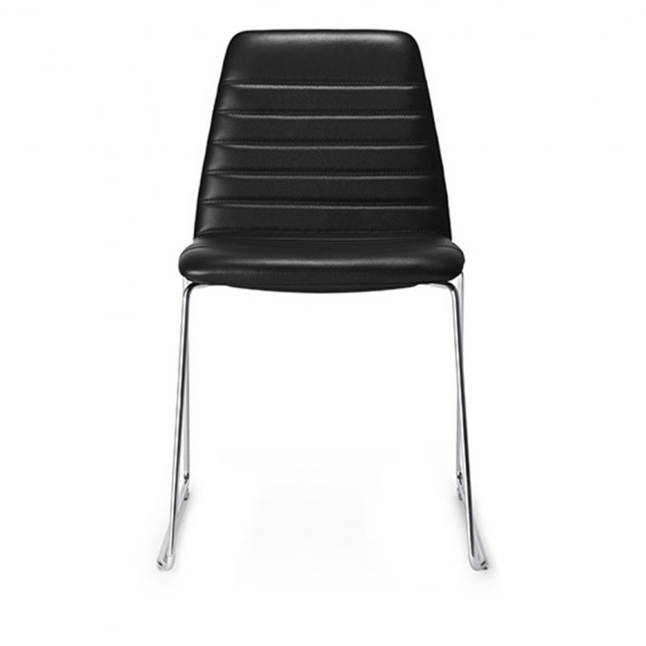 Paustian - Spinal Chair 44, Sled base chrome | Channel stitching, læder