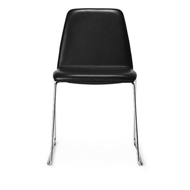 Paustian - Spinal Chair 44, Sled base chrome | Plain, læder