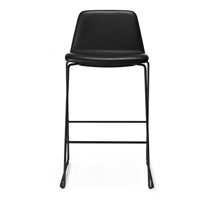 Paustian - Spinal Chair 44, Sled base black, Counter height | Plain, læder