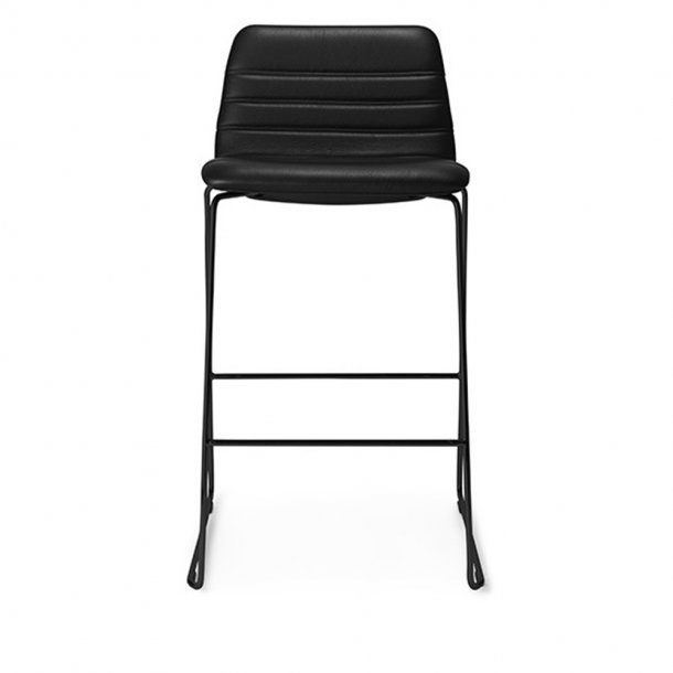 Paustian - Spinal Chair 44, Sled base black, Counter height | Channel stitching, læder
