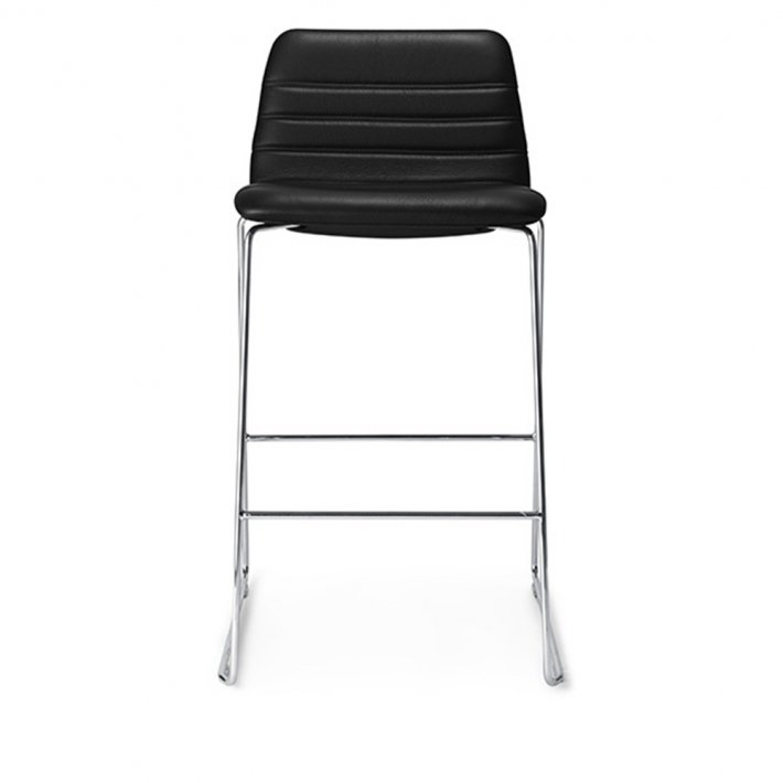 Paustian - Spinal Chair 44, Sled base chrome, Counter height | Channel stitching, læder