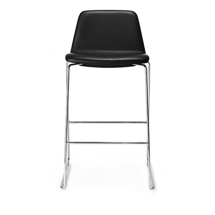 Paustian - Spinal Chair 44, Sled base chrome, Counter height | Plain, læder
