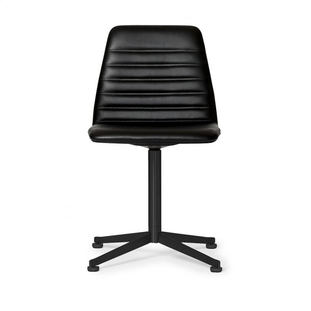 Paustian - Spinal Chair 44, swivel base black | Channel stitching, Læder