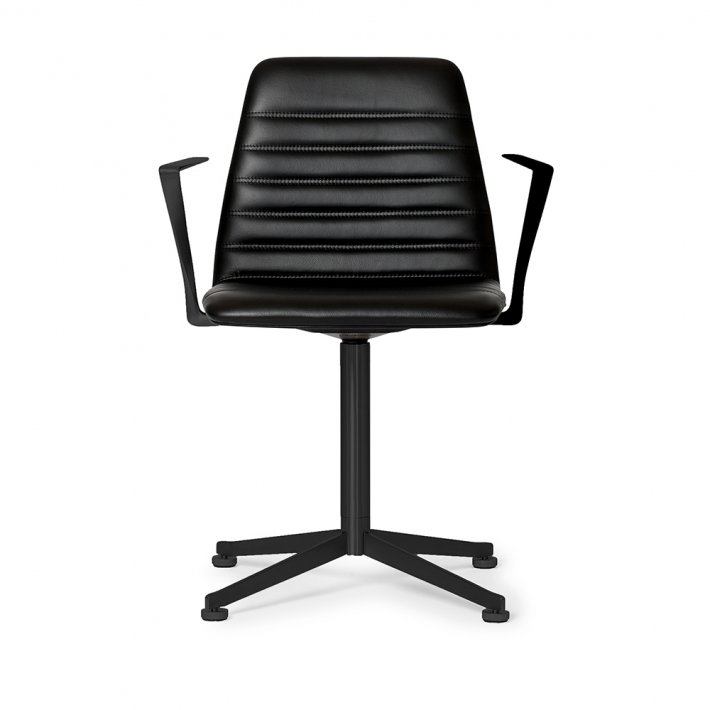 Paustian - Spinal Chair 44, Swivel base black | Channel stitching, Læder, Armrest