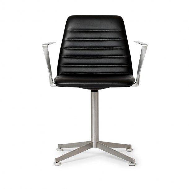 Paustian - Spinal Chair 44, Swivel base chrome | Channel stitching, Læder, Armlæn