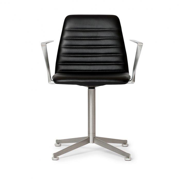 Paustian - Spinal Chair 44, Swivel base chrome   Channel stitching, Læder, Armlæn