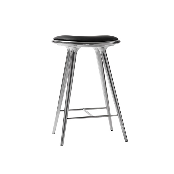 Mater - High Stool | Polished Aluminium