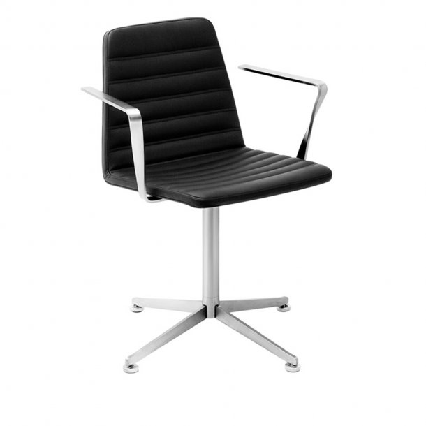 Paustian - Spinal Chair 44, Swivel base chrome - Chanel stitching, Læder, Armrest