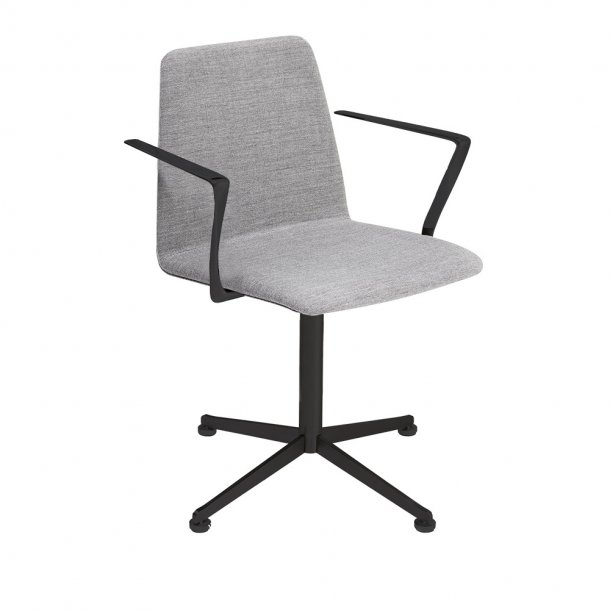 Paustian - Spinal Chair 44, 4-star Swivel black - Plain, Tekstil, Armlæn