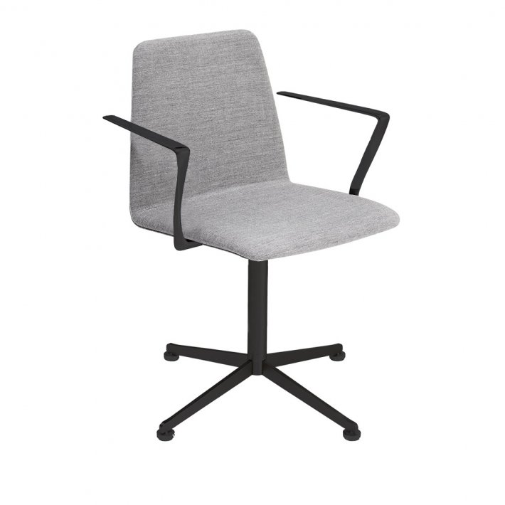 Paustian - Spinal Chair 44, Swivel base black | Plain, Tekstil, Armlæn