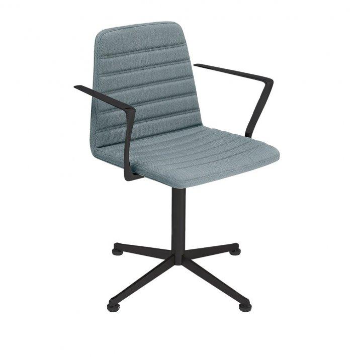 Paustian - Spinal Chair 44, Swivel base black   Channel Stitching, Tekstil, Armlæn