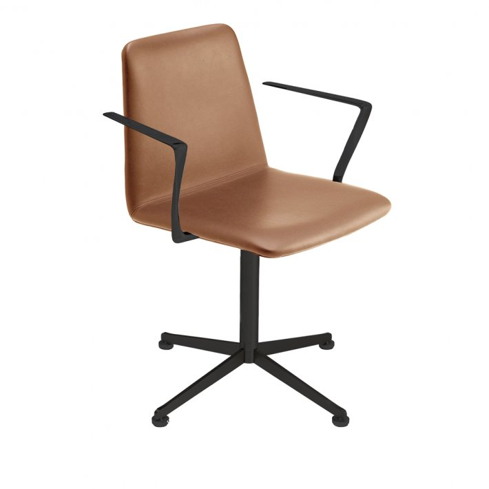 Paustian - Spinal Chair 44, Swivel base black | Plain, Læder, Armrest