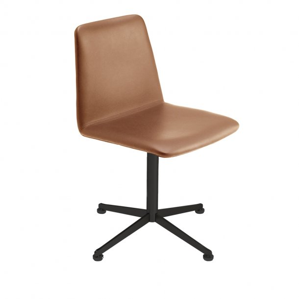 Paustian - Spinal Chair 44, Swivel base black | Plain, Læder